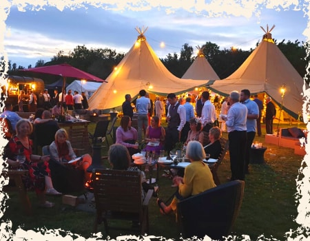 night time drinks at Overgown Acres tipi wedding venue