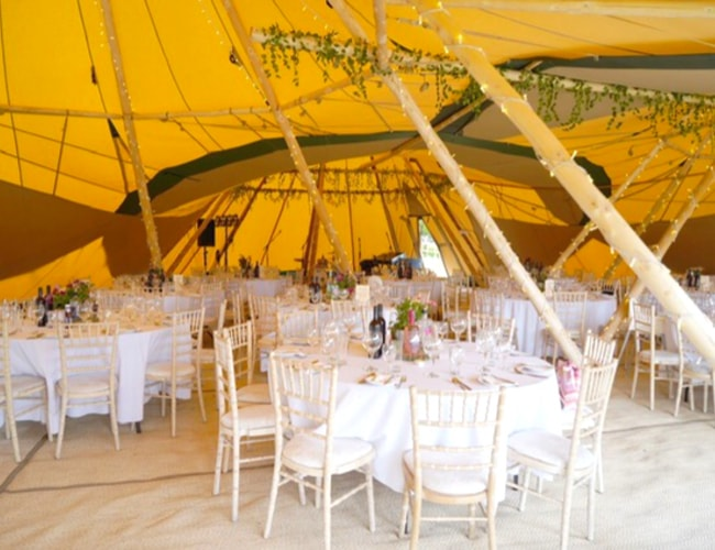 inside the tipis at wedding venue in Nottingham