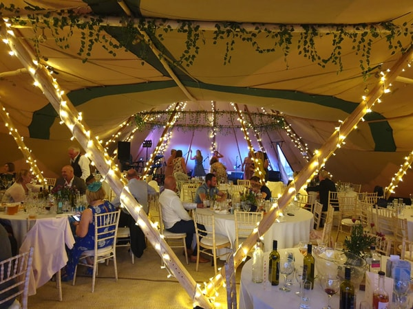 illuminated tipis at wedding venue in Nottingham