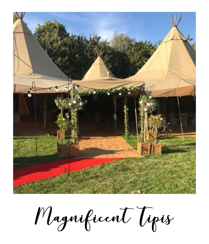 tipis with festoon lighting at tipi wedding venue in Nottinghamshire