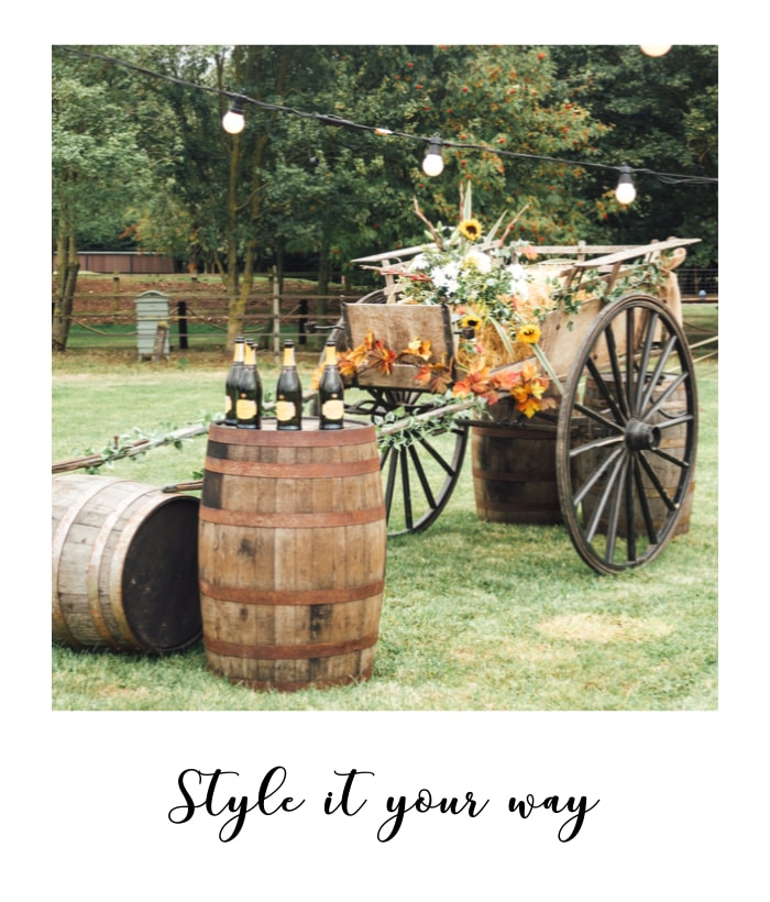 This Nottinghamshire wedding venue provides props and styling such as carts and barrels