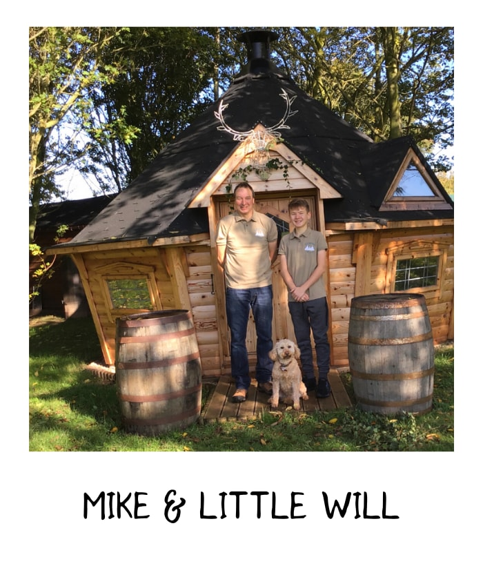 Mike and little Will l at rustic weeding venue in nottingham
