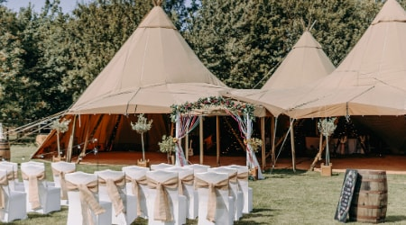 seating for a tipi wedding ceremony venue