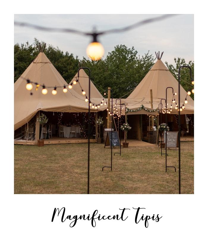tipis with festoon lighting at tipi wedding venue in Nottinghamshire