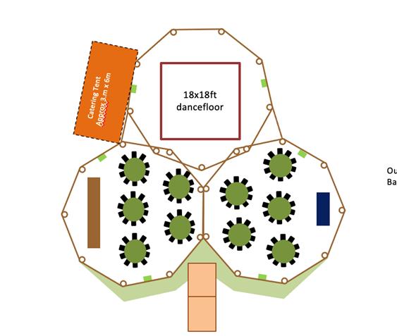small gathering floorplan for wedding tipis
