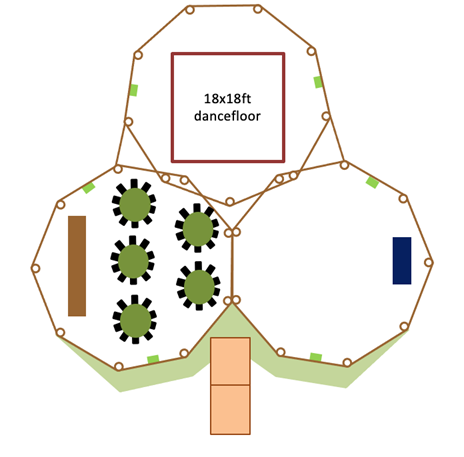 suggested floor plan for wedding tipis